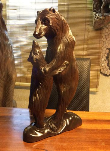 Handcarved BEAR Sculpture bear with child wooden 0,43 m Little Big Horn
