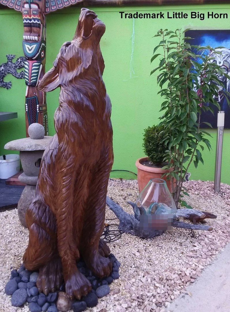 WOLF Wood Real Statue Decoration 2,10 M decoration LITTLE BIG HORN