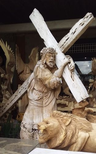 JESUS STATUE with cross Kreuzweg Crucifixion wood unique approx. 2 m high