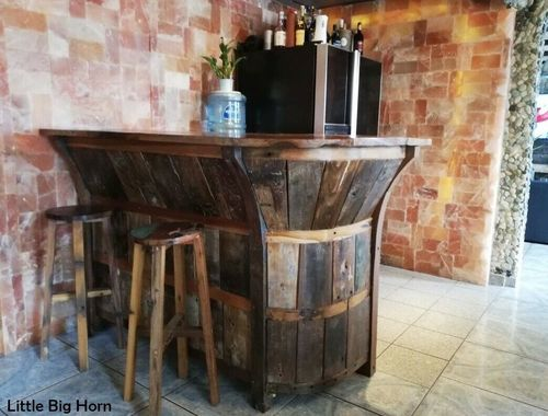 Boot Bar +2 Hocker Antik Holz Dekoration Garten Wohnung Little-Big-Horn Bootbar